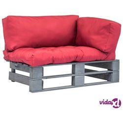 Vidaxl sofa ogrodowa z palet z czerwonymi poduszkami, drewno fsc
