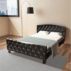 vidaXL Rama łóżka ze sztucznej skóry, 140 x 200 cm, kolor czarny, kolor czarny