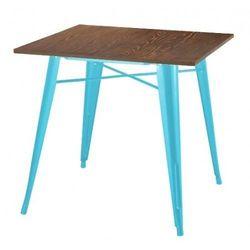 King home Stół tower wood niebieski - blat sosna antyczna/metal (5900168808171)