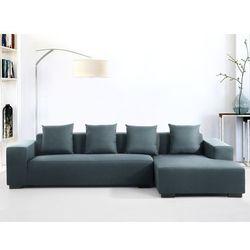 Sofa ciemnoniebieska - sofa narozna L - tapicerowana - LUNGO - oferta [05b8682615e546dd]
