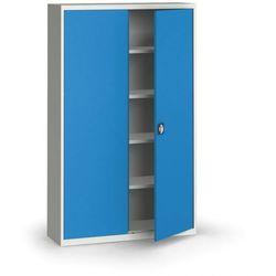 Szafa metalowa, 1950 x 1200 x 400 mm, 4 półki, szara/niebieska