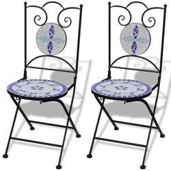 mozaikowe krzesło bistro niebieskie / biały zestaw 2 szt od producenta Vidaxl