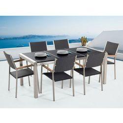 Stół granitowy czarny polerowany 180 cm z 6 rattanowymi krzesłami - grosseto marki Beliani