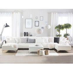 Sofa rozkładana XXL skóra ekologiczna biała z otomaną ABERDEEN, kolor biały
