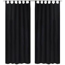 Czarne atłasowe zasłony z pętelkami 2 szt. 140 x 245 cm marki Vidaxl