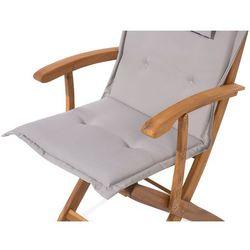 Krzesło ogrodowe drewniane poducha szaro-beżowa maui marki Beliani