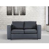 Skórzana sofa dwuosobowa czarna - kanapa - HELSINKI