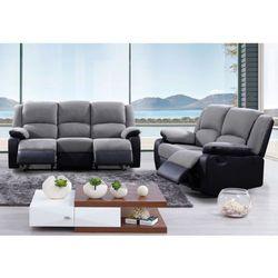 2- i 3-osobowa sofa z funkcją relaks z mikrofibry i imitacji skóry BILSTON - Antracytowo-czarna