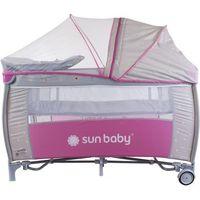Sun baby  łóżeczko z pełnym wyposażeniem sweet dreams, różowo-szare (5907478648886)