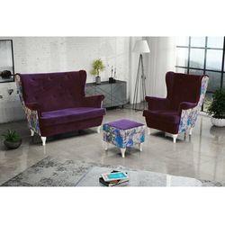 """Zestaw """"riki"""" sofa + fotel+podnóżek - pomarańczowy marki Sofa.pl"""