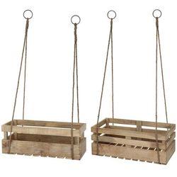 Zestaw 2 skrzynek balkonowych, wieszak na doniczki, drewno mango (8719202476637)