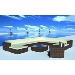 vidaXL Zestaw mebli ogrodowych z polirattanu, 35-części, brązowe, kup u jednego z partnerów