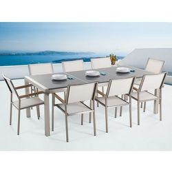 Meble ogrodowe - stół granitowy 220 cm szary polerowany z 8 białymi krzesłami - GROSSETO (7081458784714)
