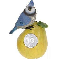 Lampa solarna ptaszek na owocu figurka kamienna - Wzór I
