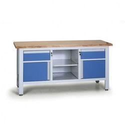 Stół warsztatowy EXPERT, 2 szuflady, 2 szafki, 1 półka