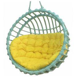 Turkusowy kosz wiklinowy z żółtą poduszką - Petro 2X, Kosz-wiszący-wiklinowy-okrągły