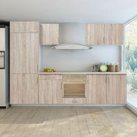 vidaXL Zestaw mebli kuchennych, dąb, 7 części, zabudowa pod lodówkę