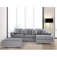 Sofa narożna z pufą w kolorze jasnoszarym l - kanapa tapicerowana - oslo, marki Beliani