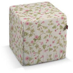 Dekoria Pufa kostka twarda, różowe kwiaty na kremowym tle, 40x40x40 cm, Mirella