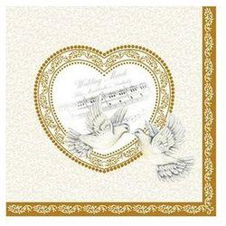 Serwetki Gołębie, kremowy, 33 x 33cm Ślub Wesele