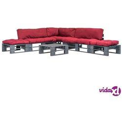 Vidaxl ogrodowe meble z palet, 6 cz., drewno fsc + czerwone poduszki