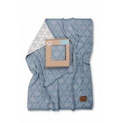 Kocyk tkany heksagony niebiesko-biały - 75 x 90 cm - marki Pink no more