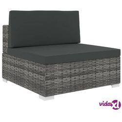 Vidaxl środkowa sofa z poduszką, polirattan, szara (8719883725147)