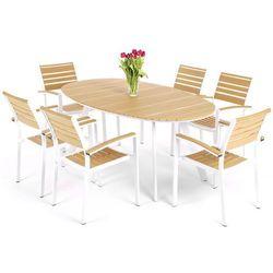 Home&garden Meble ogrodowe  889684 lorenzo aluminiowe biało-teak, kategoria: zestawy ogrodowe