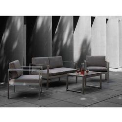 Meble ogrodowe ciemnoszare - stół - sofa - 2 krzesła - aluminium - salerno marki Beliani