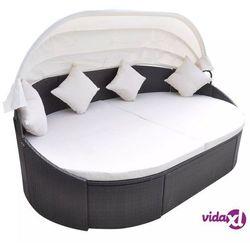 vidaXL Leżak z zadaszeniem i poduszką, polirattan, brązowy