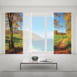 Zasłona okienna na wymiar komplet - AUTUMN COUNTRYSIDE