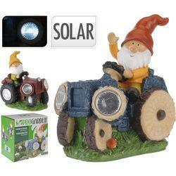 Lampa solarna krasnal na traktorze figurka kamienna brązowy - Wzór II - produkt z kategorii- lampy ogrodowe