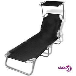 Vidaxl składany leżak z zadaszeniem, stal i tkanina, czarny
