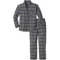 Piżama flanelowa bonprix szary w kratę, kolor wielokolorowy