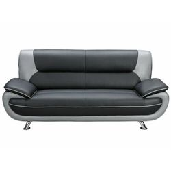 Sofa 3-osobowa z materiału skóropodobnego NIGEL - Model dwukolorowy: czarno-szary