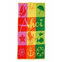 Bonprix Ręcznik plażowy w marynarskie motywy kolorowy