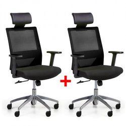 Krzesło biurowe z oparciem z siatki wolf ii, regulowane podłokietniki, aluminiowy krzyżak, 1+1 gratis, czarne marki B2b partner