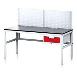 B2b partner Stół warsztatowy mechanic ii z panelem perforowanym, 1600 x 700 x 745-985 mm, 1 kontener szufladowy, szary/czerwony