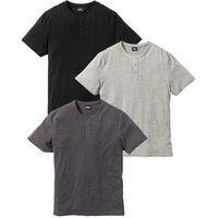 Bonprix T-shirt (3 szt.) regular fit  jasnoszary melanż + antracytowy melanż + czarny