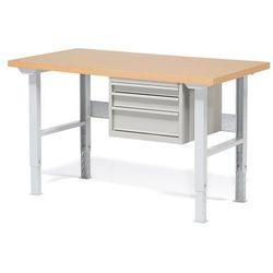 Stół warsztatowy ROBUST, z regulacją wysokości, 3 szuflady, 800x1500 mm, 232116
