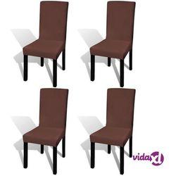 Vidaxl elastyczne pokrowce na krzesła w prostym stylu, 4 szt., brązowe