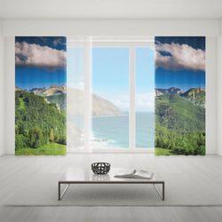 Zasłona okienna na wymiar komplet - SUMMER GREEN MOUNTAINS