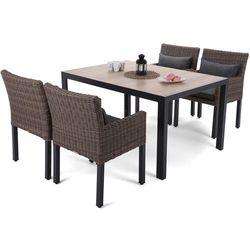 Home & garden Meble ogrodowe aluminiowe capri 145 cm black / sand capri brown / grey 4+1 (5902425328538)