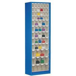 Lockweiler plastic werke Szafa magazynowa z blachy stalowej,z 61 przezroczystymi składanymi skrzynkami