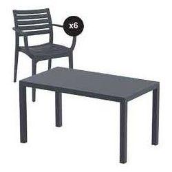 Zestaw ogrodowy Artemis stół 140 x 80 cm + 6 krzeseł kolor szary, towar z kategorii: Krzesła ogrodowe