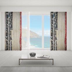 Zasłona okienna na wymiar - WHITE BLACK RED