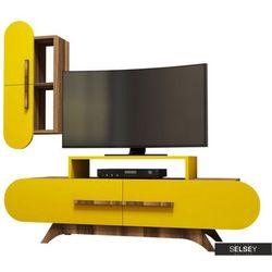 SELSEY Szafka RTV Ovalia 145 cm z żółtym frontem i wiszącą szafką