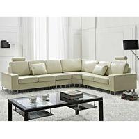 Stylowa sofa kanapa z beżowej skóry naturalnej narożnik STOCKHOLM