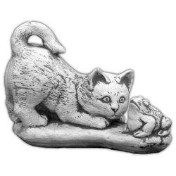 Figura ogrodowa betonowa kot z ropuchą 16cm