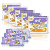 Pieluszki Happy Mini 5x78 szt. + GRATIS 6x Chusteczki nasączone Happy